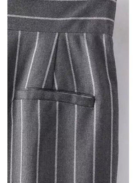Pantalon à taille haute et à rayues - Bleu Foncé S Mobile