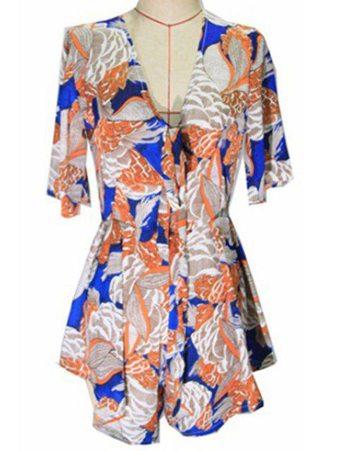 affordable Floral Plunging Neck Half Sleeve Romper - COLORMIX XL Mobile