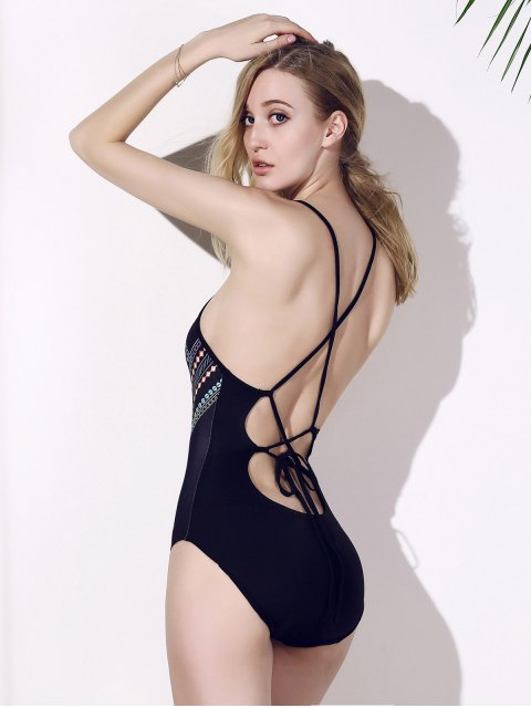 outfits Backless Chic Print Cut Out One Piece Swimwear For Women -   Mobile