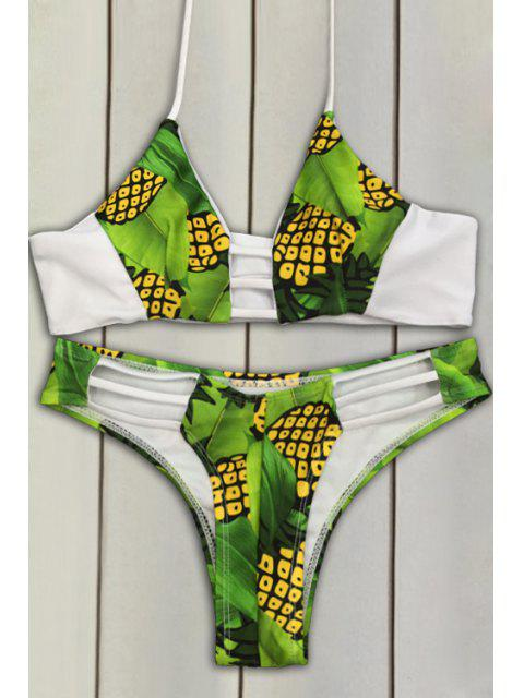 women's Pineapple Print Bikini Set - GREEN S Mobile