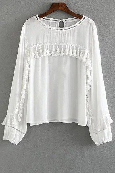 Tassels Spliced Round Collar Long Sleeve Blouse - WHITE L