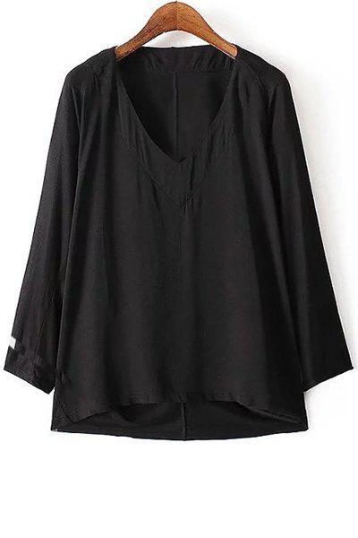 Pure Color V-Neck Long Sleeves T-Shirt - BLACK S