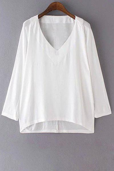 Pure Color V-Neck Long Sleeves T-Shirt - WHITE S