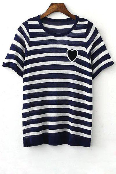 Striped Round Neck Short Sleeve Knit T-Shirt - BLUE L