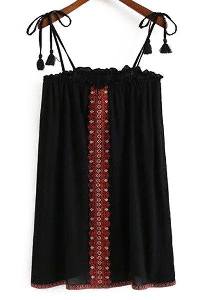 Embroidered Camisole Slip Dress - BLACK L