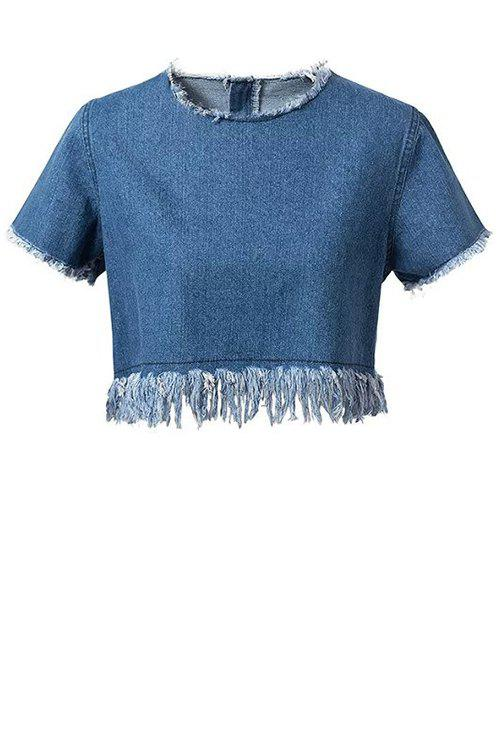 Frayed Denim Crop Top 177949502