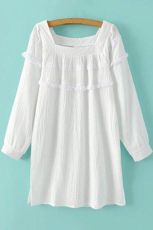 White Fringe Square Neck Long Sleeve Dress - WHITE L