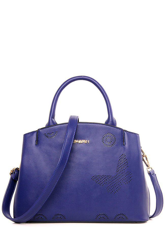 Letter Hollow Solid Color Tote Bag - BLUE