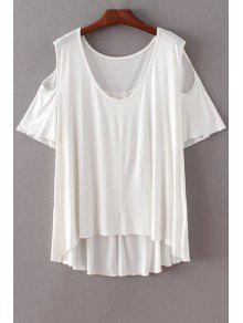 Solid Color Scoop Neck Short Sleeve Cold Shoulder T-Shirt - White L