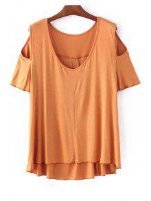 Solid Color Scoop Neck Short Sleeve Cold Shoulder T-Shirt - Ginger S