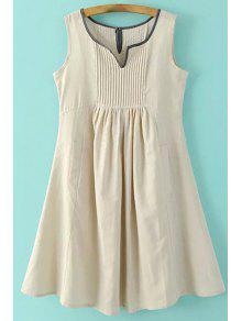 Taschen ärmel Eingekerbte Ansatz Kleid - Aprikose L