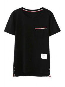 Fitting Pocket Round Neck Short Sleeve T-Shirt - Black L