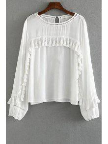 Tassels Spliced Round Collar Long Sleeve Blouse - White M