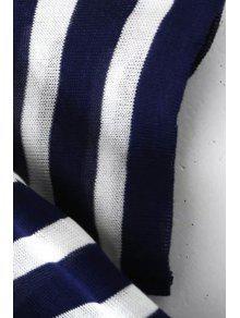 Rayas Cuello Manga De Redondo De Azul De La Corta L Camiseta Punto rgUxO5rwq