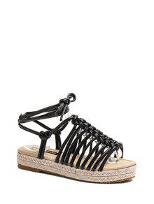 Buy Solid Color Weaving Lace-Up Sandals - BLACK 38
