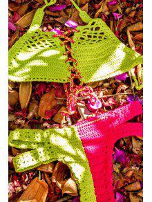 Crocheted Halter Lace Up Bikini Set - Light Green Xl