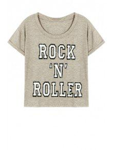 Letter Pattern Short Sleeve Round Neck T-Shirt - Gray L