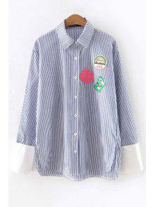 Abajo Del Botón De Camisa De Rayas Apliques - Azul M