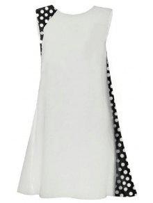 Buy Polka Dot Splicing Round Collar Sleeveless Dress - WHITE L