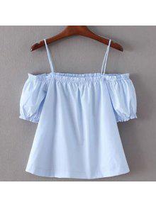 Graceful Spaghetti Strap Manches Demi T-shirt Couleur Unie Pour Les Femmes - Azur L