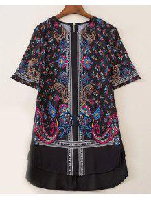 Imprimé à Manches Style Vintage Jewel Cou Courtes T-shirt Pour Les Femmes - Noir S