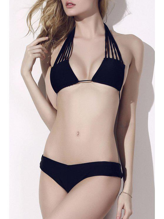 Lace Up Solid Color Bikini - Noir XL