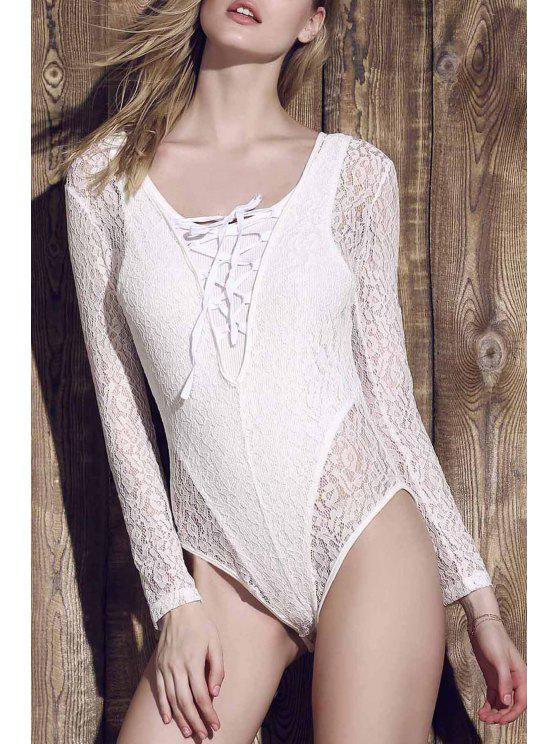 ladies Lace See-Through Long Sleeve Bathing Suit - WHITE M