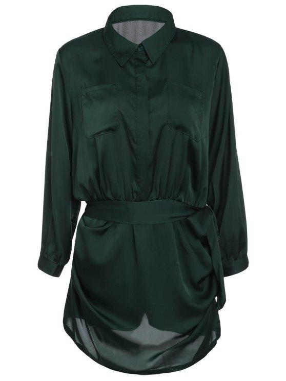 Kurze Polo-Kragen-Armee-Grün-Langarm-Body für Frauen - Armeegrün M
