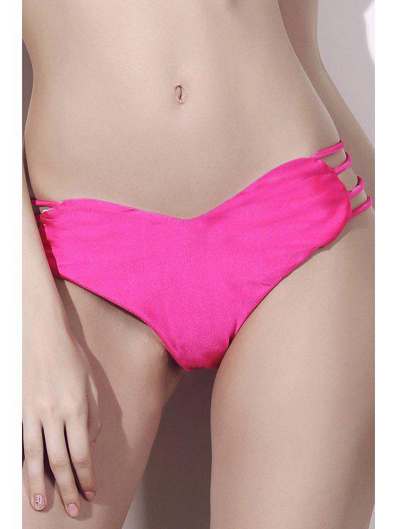 Solid Color Herz-Muster-Halter-Bikini-Set - Rose L