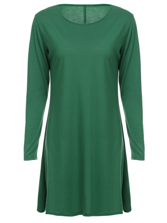 latest Loose Fitting Round Neck Solid Color Casual Dress - GREEN L