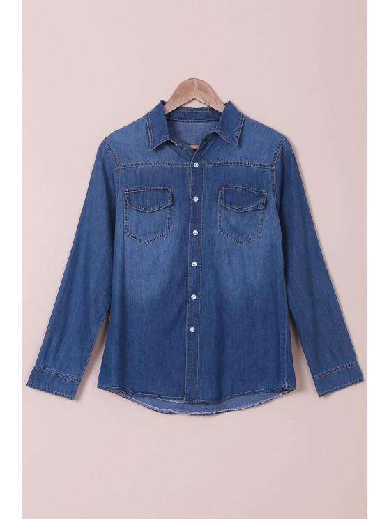 womens Denim Turn Down Collar Long Sleeves Shirt - BLUE S