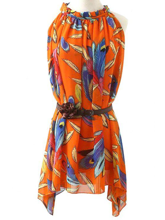 hot Feather Print Chiffon Dress With Belt - ORANGE M