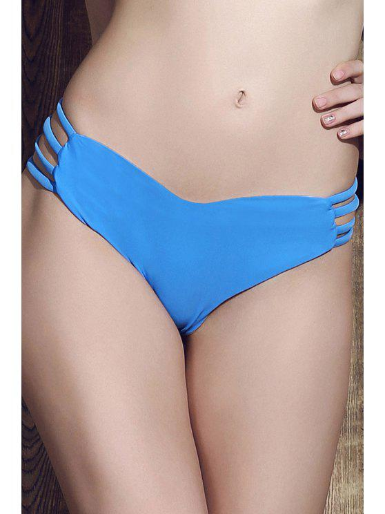 ladies Solid Color Heart Pattern Bikini Briefs - BLUE L