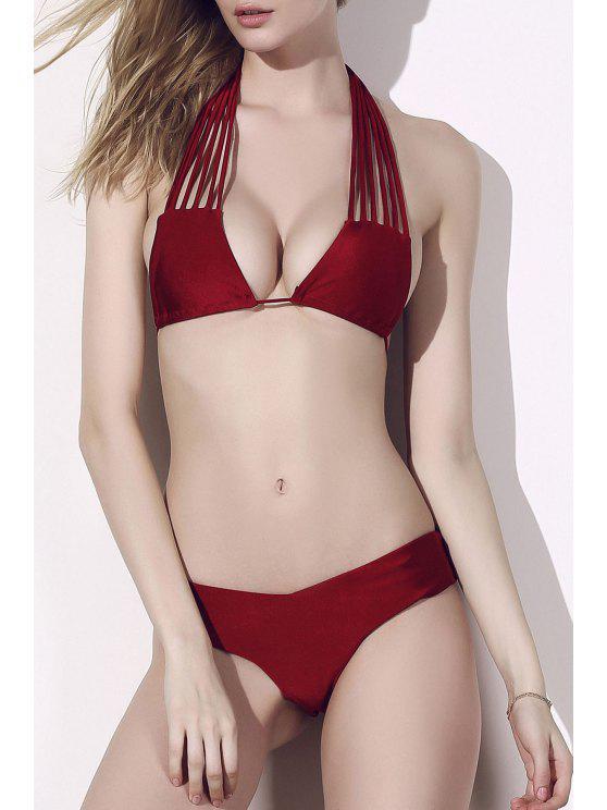 sale Solid Color Stringy Bikini Set - RED M