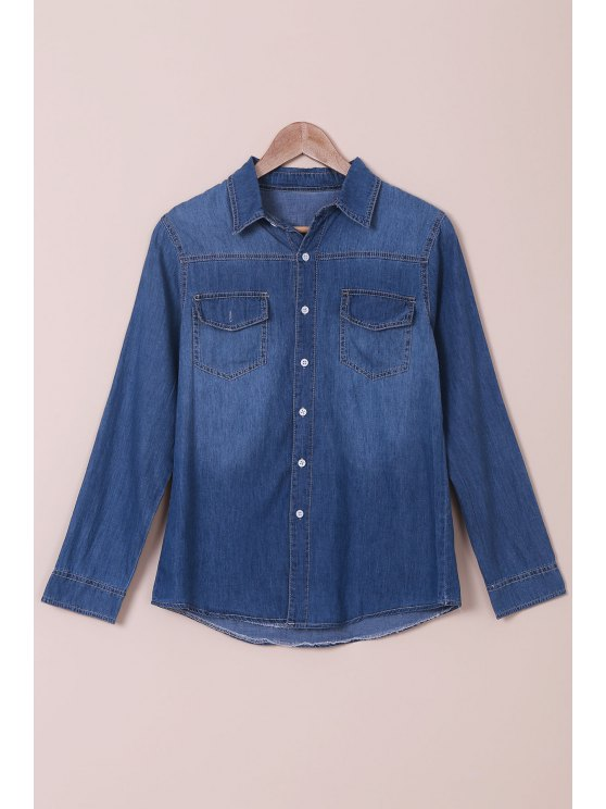 Camicia a maniche lunghe al collo in denim - Blu M