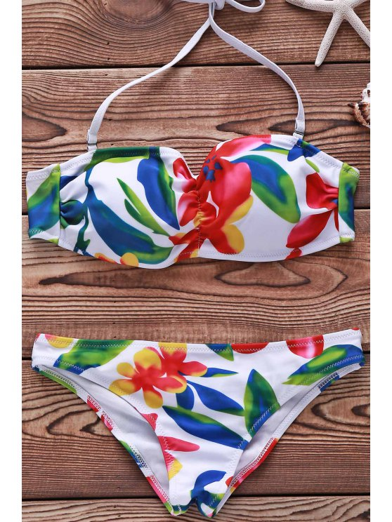 trendy Flower Print Spaghetti Straps Bikini Set For Women - WHITE S