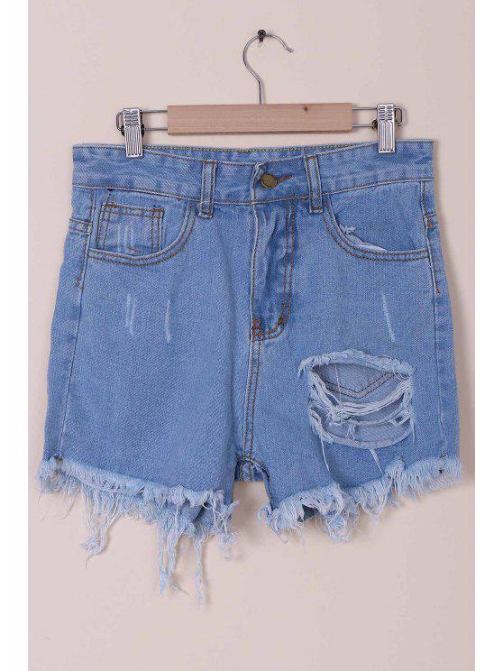 women Solid Color Broken Hole High-Waist Denim Shorts - LIGHT BLUE S
