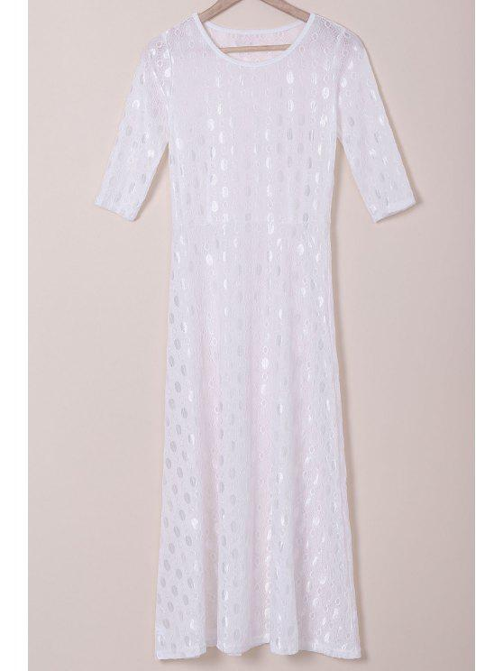 best White Half Sleeve Maxi Dress - WHITE S