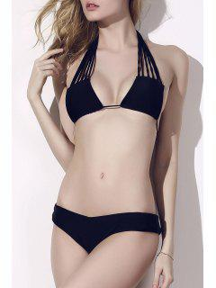 Strappy Halter Plunge Neck Bikini Set - Black Xl