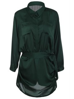 Brief Polo Collar Army Green Long Sleeve Romper For Women - Army Green L