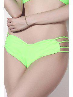 Solid Color Heart Pattern Bikini Briefs - Green L