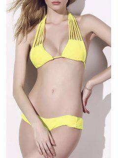 Solid Color Stringy Bikini Set - Yellow Xl