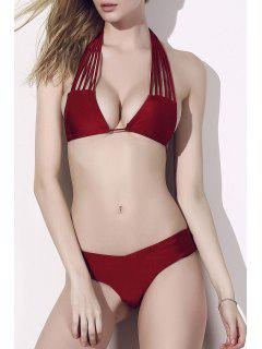 Solid Color Stringy Bikini Set - Red Xl