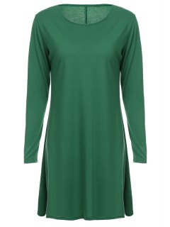 Loose Fitting Round Neck Solid Color Casual Dress - Green Xl