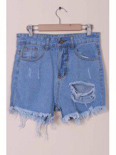 Einfarbige Hoche Taille Jeans-Shorts Mit Gebrochenem Loch - Hellblau Xl