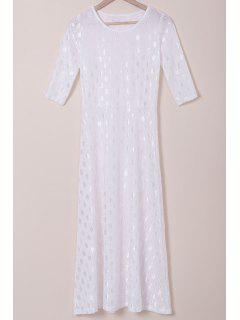 White Half Sleeve Maxi Dress - White L