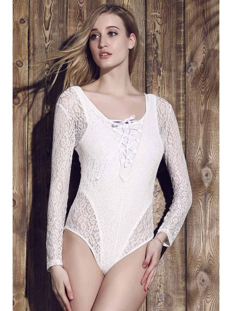 best Lace See-Through Long Sleeve Bathing Suit - WHITE XL Mobile