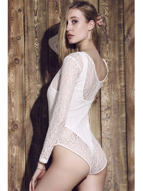 women's Lace See-Through Long Sleeve Bathing Suit - WHITE S Mobile