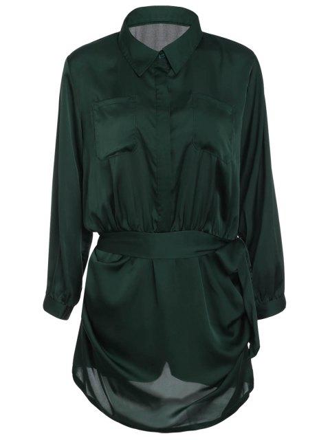 Kurze Polo-Kragen-Armee-Grün-Langarm-Body für Frauen - Armeegrün M Mobile