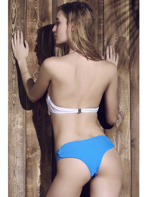 ladies Solid Color Heart Pattern Bikini Briefs - BLUE L Mobile